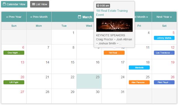 Facebook Events Calendar - Full Layout
